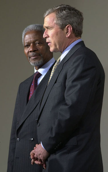 President Bush speaks before a meeting with United Nations Secretary General Kofi Annan outside the oval office March 23, 2001.