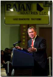 President Bush makes remarks to the employees of Bajan Industries