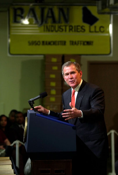 President George W. Bush speaks during an event at Bajan Industries in Kansas City, Monday, March 26, 2001. WHITE HOUSE PHOTO BY ERIC DRAPER
