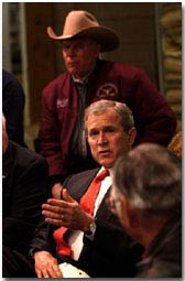 President George W. Bush talks during meeting with Montana Agricultural Producers at Tractor Supply Company in Billings, Montana, Monday, March 26, 2001.