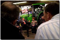 President George W. Bush meets with Montana Agricultural Producers at Tractor Supply Company in Billings, Montana, Monday, March 26, 2001.