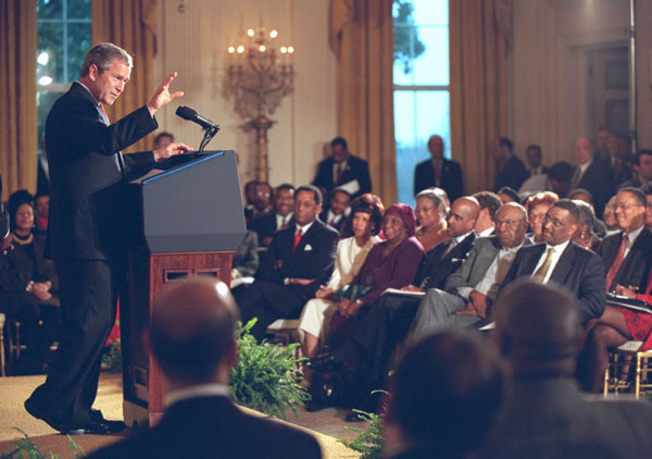 President George W. Bush address African American leaders during an event in The East Room, Thursday, March 29.