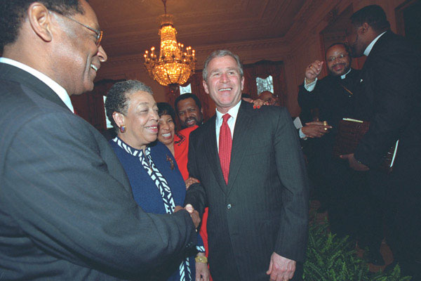 President George W. Bush greets African American leaders after his speech in The East Room, Thursday, March 29.