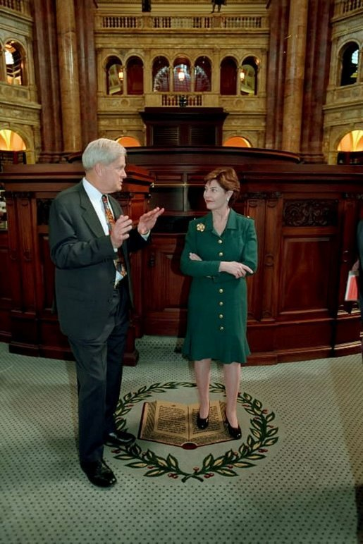 Laura Bush is given a tour of the reading room of the Library of Congress by Dr. James Billington Washington, D.C. April 3, 2001. White House photo by Eric Draper.
