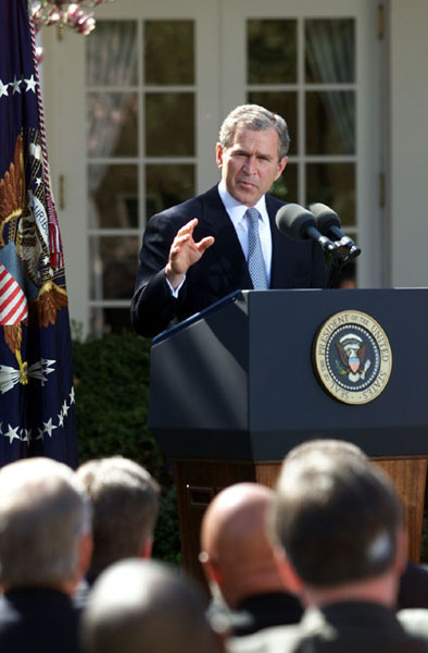 President Bush Speaks to Mayors in Rose Garden
