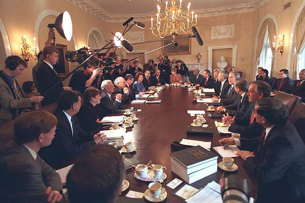 President Bush discusses the budget in the Cabinet Room with his Cabinet.