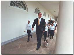 President Bush Takes Students from Cleveland Elementary School on a Tour at the White House