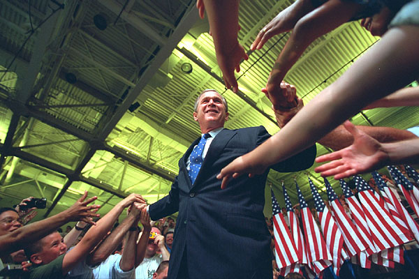 President Bush greets citizens from Greenville, North Carolina.