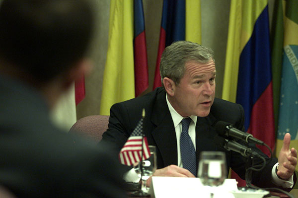 President Bush discusses trade and other issues at the Summit of the Americas in Quebec City, Canada.