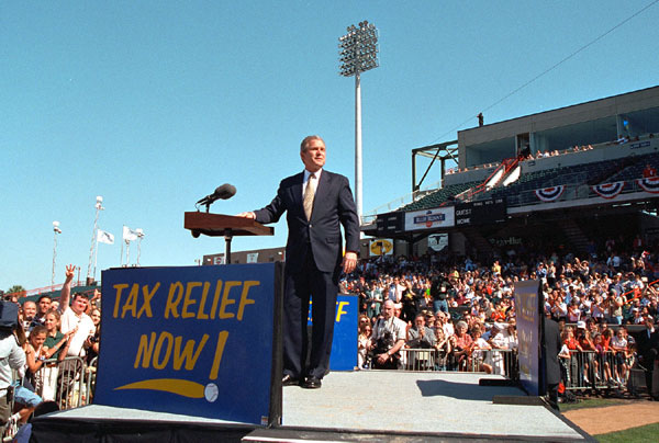 President Bush Speaks at Zephyr Field in New Orleans, Louisiana. White House photo by Paul Morse.
