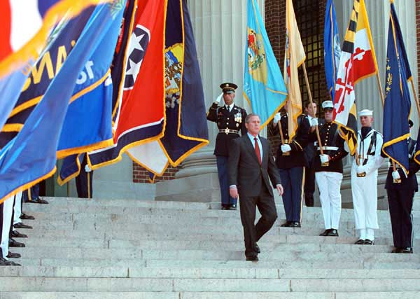 President George W. Bush descends the steps of the National Defense University before his speech about the national defense shield. WHITE HOUSE PHOTO BY PAUL MORSE