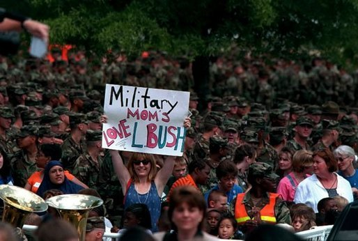 Crowds welcome Mrs. Bush to Fort Jackson, South Carolina for a Troops to Teachers rally May 8, 2001. White House photo by Paul Morse.