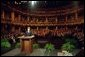 Laura Bush addresses the Golden Apple Awards ceremony attendees at the Shakespeare Theater in Chicago, Illinois May 14, 2001. White House photo by Paul Morse.