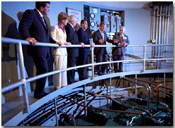 President Bush tours the Safe Harbor Water Power plant Friday, May 18. WHITE HOUSE PHOTO BY ERIC DRAPER