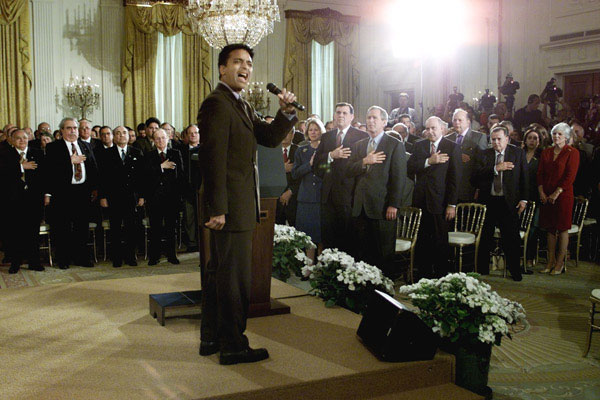 Jon Secada sings the American National Anthem during Cuban Independence Day at the White House Friday, May 18. WHITE HOUSE PHOTO BY PAUL MORSE