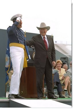 Donning his own style of graduation cap, Vice President Cheney participates in the U.S. Air Force Academy Commencement ceremonies at Falcon Stadium in Colorado Springs, CO May 30, 2001.  White House photo by David Bohrer