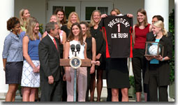 President George W. Bush welcomes the National Champion University of Nebraska-Lincoln Women's Volleyball team to the White House Thursday May 31. WHITE HOUSE PHOTO BY SUSAN STERNER