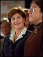 Laura Bush listens to remarks by Dr. Perri Klass during a Read Out and Read event in Boston, Mass., June 1, 2001. White House photo by Paul Morse.