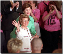 First Lady Laura Bush introduces her mother, Jenna Welch, during the Race For Cure Survivors event at the White House Friday, June 1. WHITE HOUSE PHOTO BY TARA ENGBERG