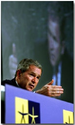 President George W. Bush talks about his meetings with Swedish Prime Minister Groan Person and European Union Commission President Romano Prodi Goteborg, Sweden at a press conference on Wednesday June 14, 2001. WHITE HOUSE PHOTO BY PAUL MORSE