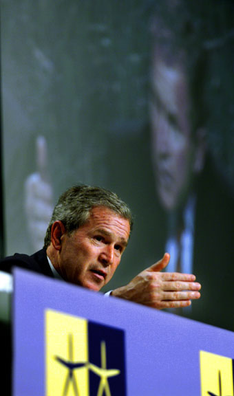 President George W. Bush talks about his meetings with Swedish Prime Minister Goran Person and European Union Commission President Romano Prodi Goteborg, Sweden at a press conference on Wednesday June 14, 2001. WHITE HOUSE PHOTO BY PAUL MORSE
