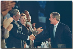 President George W. Bush shakes hands with a row of U.S. mayors including Philadelphia Mayor John F. Street after speaking at the 69th Conference of Mayors in Detroit, Michigan, Monday, June 25, 2001. White House photo by Eric Draper.
