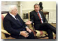 President Bush talks to Israeli Prime Minister Ariel Sharon in the Oval Office Tuesday, June 26. WHITE HOUSE PHOTO BY PAUL MORSE