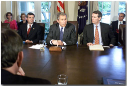 President Bush meets with House leaders to discuss