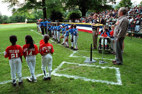 President George W. Bush starts the Tee Ball On The South Lawn second game Sunday, June 3. WHITE HOUSE PHOTO BY ERIC DRAPER