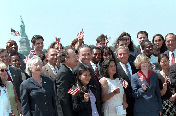 """We're a diverse country, and getting more diverse,"" said President Bush in his remarks at Ellis Island during a large swearing in ceremony for new citizens July 10, 2001."