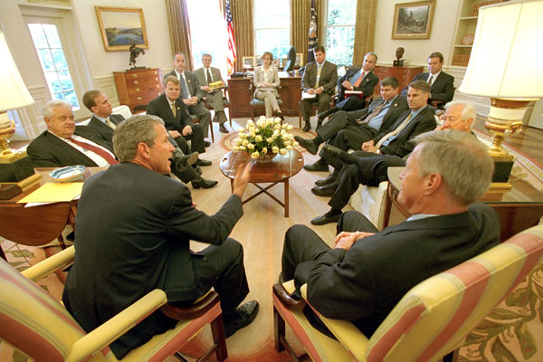 President Bush meets with the democratic members of Congress in the Oval Office July 12, 2001 to discuss the bipartisan-sponsored plan to improve Medicare. White House photo by Paul Morse.