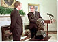 President Bush accepts a bust of Sir Winston Churchill from ambassador of England, Sir Christopher Meyer July 16, 2001.