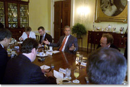 President Bush meets with a