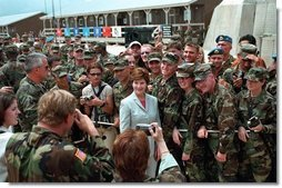 Laura Bush attends the Dedication of the Laura Bush Center for Education at Camp Bondsteel July 24, 2001 in Kosovo, Federal Republic of Yugoslavia.  White House photo by Moreen Ishikawa
