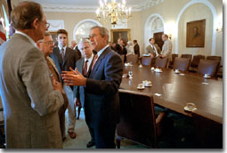 President Bush discusses the patients' bill of right legislation with members of Congress in the Cabinet Room at the White House July 25, 2001. White House photo by Eric Draper.