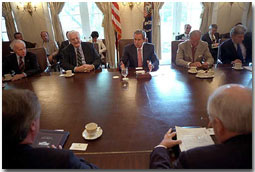 President Bush meets with members of Congress to discuss his recent tip to the Genoa G-8 Summit in the Cabinet Room at the White House July 25, 2001. White House photo by Eric Draper.