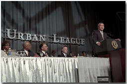 Speaking at the Washington Convention Center, President Bush addresses the 2001 Urban League Conference Wednesday, August 1, 2001.