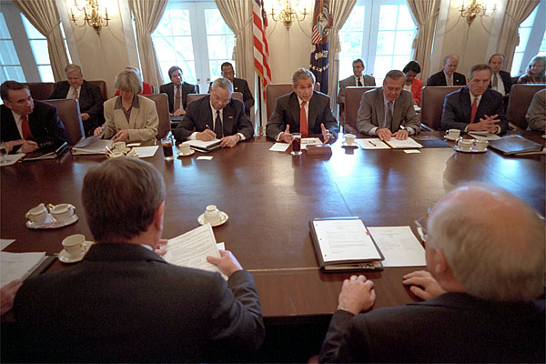 President Bush meets with his cabinet members at the White House August 3, 2001. After their session, the cabinet stood by him in the Rose Garden as he addressed the media and outlined the successes of the administration's first six months. White House photo by Eric Draper.