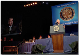 President Bush speaks at the American Legion's 83rd annual convention in San Antonio, Aug. 29. White House photo by Moreen Ishikawa.