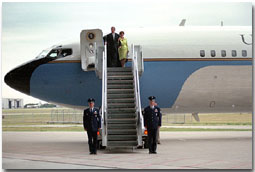 """It will carry no more presidents, but it will carry forever the spirit of American democracy,"" said President Bush during a retirement ceremony for the jet that flew as Air Force One for more than a million miles on 444 missions. Entered into service during the Nixon administration, the plane flew its final mission, carrying President Bush and First Lady Mrs. Bush to the ceremony at Texas State Technical College in Waco, Texas, Aug. 29. It may not be a show down at high noon, but a few good-natured shots are fired as President bush gives the press pool a tour of his ranch at Crawford, Texas, Aug. 25."
