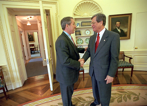 President Bush Greets Senator Trent Lott Before A Lunch