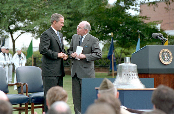 "Stories were exchanged and as President Bush presented Australian Prime Minister Howard with the bell from the U.S.S. Canberra at a ceremony commemorating 50 years of military alliance. ""The President had received word of an exceptional action in battle by the Australian Navy, which were steaming alongside American vessels at Guadalcanal. His Majesty's Australian ship Canberra did not survive the battle, disappearing into the depths where she rests today,"" explained the President. White House photo by Tina Hager."