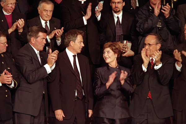 British Prime Minister Tony Blair (center, left) Mrs. Laura Bush attends a joint session of Congress in which President Bush praised the efforts of New York Mayor Rudolph Giuliani (far right) and named Pennsylvania Governor Tom Ridge (far left) to a newly created cabinet-level position in which he will oversee the homeland defense initiatives. White House photo by Paul Morse.