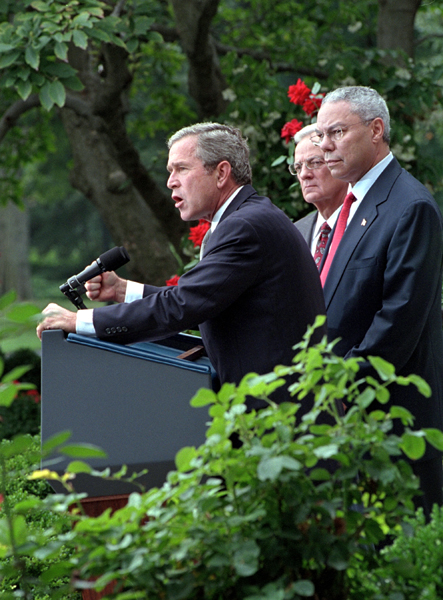 """Today, we have launched a strike on the financial foundation of the global terror network,"" stated the President in the Rose Garden as he, Secretary of the Treasury Paul O'Neill and Secretary of State Colin Powell address the media Sept. 24. White House photo by Tina Hager."