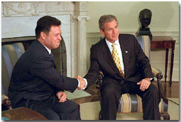 "President Bush and King Abdullah of Jordan hold a joint press conference in the Oval Office Sept. 28. ""Jordan is a strong, strong friend of America,"" said the President in his remarks. White House photo by Paul Morse."