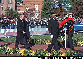 President George Bush and Mrs. Laura Bush attend the 20th Annual National Fallen Firefighters Memorial Tribute in Emmitsburg, MD, Oct. 7. White House photo by Moreen Ishikawa.