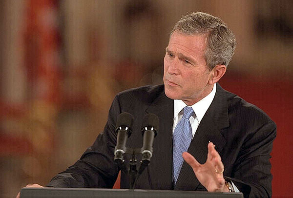 President George Bush addresses the nation in a prime time news conference. White House photo by Paul Morse.