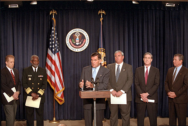 Director of the Office of Homeland Security Tom Ridge holds a press conference in the Dwight D. Eisenhower Office Building Oct. 18. White House photo by Tina Hager.
