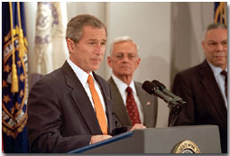 """We put the world's financial institutions on notice: if you do business with terrorists, if you support them or sponsor them, you will not do business with the United States of America,"" said President George W. Bush in his address to the Financial Crime Enforcement Network in Vienna, Va., Nov. 7. White House photo by Paul Morse."