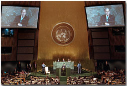 "President George W. Bush addresses the United Nations General Assembly Nov. 10. ""We're asking for a comprehensive commitment to this fight. We must unite in opposing all terrorists, not just some of them,"" said the President in his remarks. White House photo by Paul Morse."